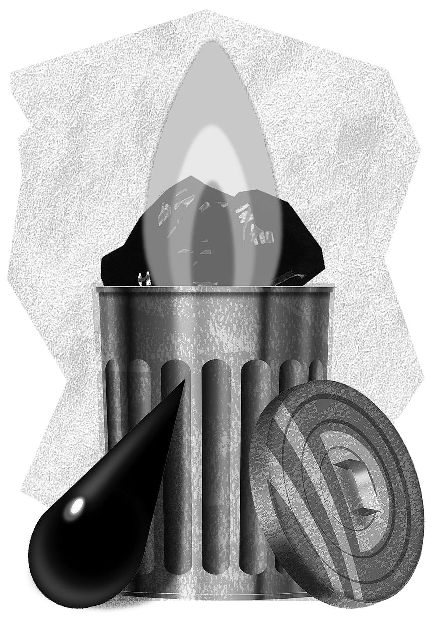 Illustration Energy Waste by Alexander Hunter for The Washington Times
