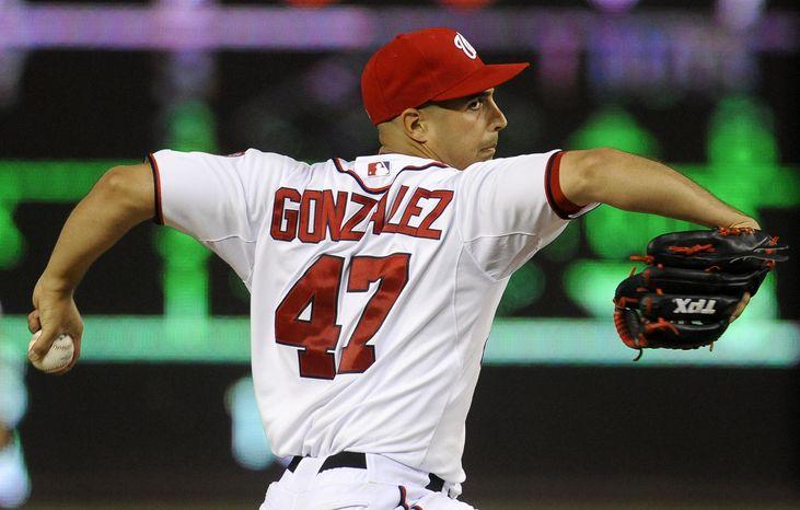 Gio Gonzalez threw seven scoreless Wednesday in the Nationals' 9-1 victory to take a 16-inning scoreless streak into his next start. (Associated Press)