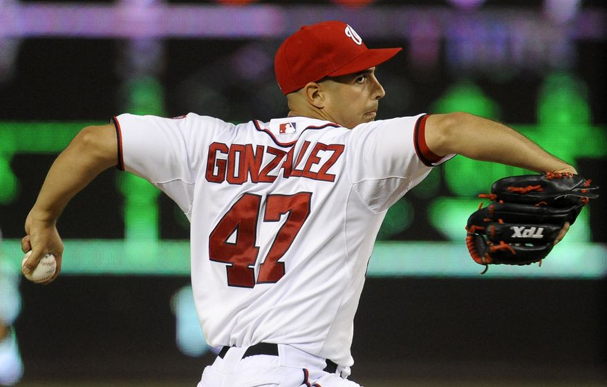 Gio Gonzalez threw seven scoreless Wednesday in the Nationals' 9-1 victory to take a 16-inning scoreless streak into his next start. (Associated Press)