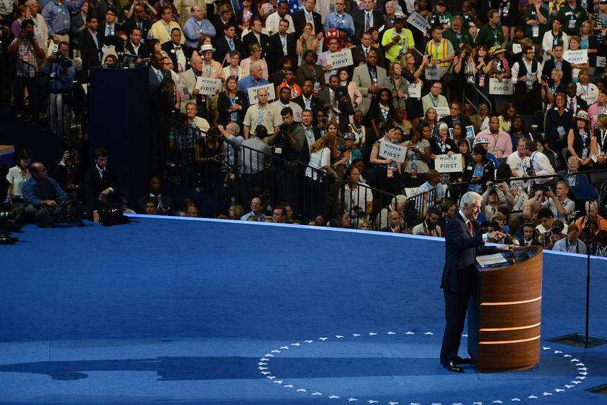 Former President Bill Clinton addresses the Democratic National Convention at the Time Warner Arena in Charlotte, N.C., on Wednesday, September 5, 2012. (Barbara Salisbury/ The Washington Times)