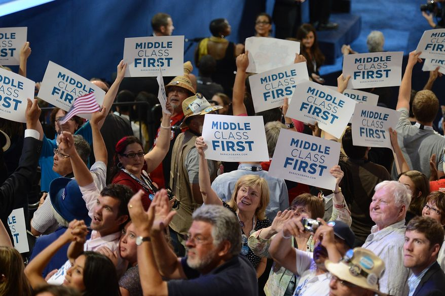 Crowds of Democrats cheer as Former President Bill Clinton addresses the Democratic National Convention at the Time Warner Arena in Charlotte, N.C., on Wednesday, September 5, 2012. (Barbara Salisbury/ The Washington Times)