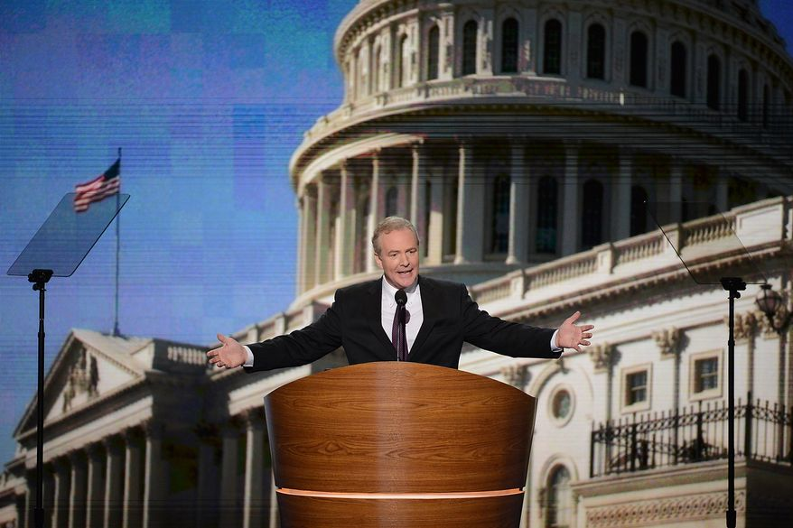 Rep. Chris Van Hollen, D-Md., addresses the Democratic National Convention at the Time Warner Arena in Charlotte, N.C., on Wednesday, September 5, 2012. (Andrew Geraci/ The Washington Times)