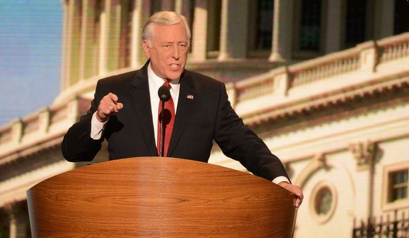 House Democratic Whip Rep. Steny Hoyer, D-Md., addresses the Democratic National Convention at the Time Warner Arena in Charlotte, N.C., on Wednesday, September 5, 2012. (Andrew Geraci/ The Washington Times)