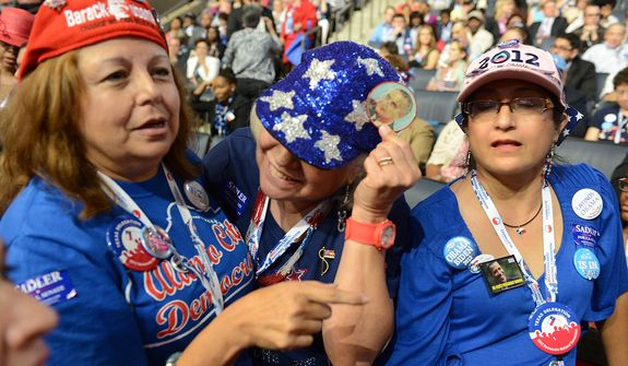 Texas delegates Tina Guerrera, left, Mildred Hilbrich and Sofia Moreno-Castillo of San Antonio, Tex., show off Hilbrich's LBJ button during the Democratic National Convention at the Time Warner Arena in Charlotte, N.C., on Wednesday, September 5, 2012. (Barbara Salisbury/ The Washington Times)