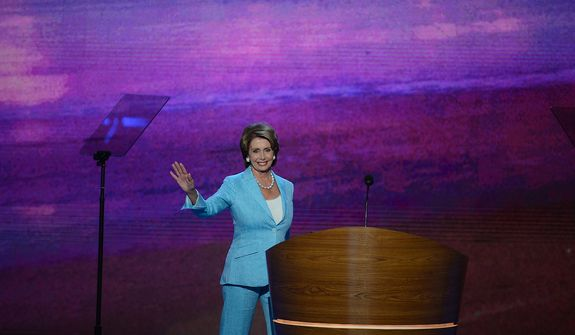 Rep. Nancy Pelosi, D-Calif. addresses the Democratic National Convention at the Time Warner Arena in Charlotte, N.C., on Wednesday, September 5, 2012. (Andrew Geraci/ The Washington Times)