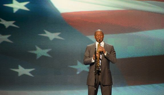 Branford Marsalis, saxophonist, composer and bandleader, opens the Democratic National Convention at the Time Warner Arena in Charlotte, N.C., on Wednesday, September 5, 2012 by playing the National Anthem. (Andrew Geraci/ The Washington Times)