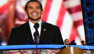 ** FILE ** Antonio R. Villaraigosa, chair of the 2012 Democratic National Convention Committee and Mayor of Los Angeles, Calif. addresses the Democratic National Convention at the Time Warner Arena in Charlotte, N.C., September 5, 2012. (Barbara Salisbury/ The Washington Times)