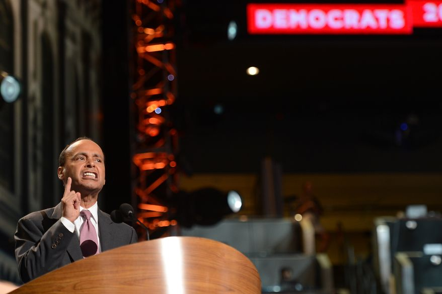 Rep. Luis V. Gutierrez, D-Ill. addresses the Democratic National Convention at the Time Warner Arena in Charlotte, N.C., on Wednesday, September 5, 2012. (Barbara Salisbury/ The Washington Times)