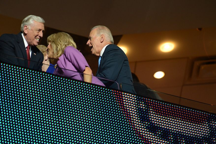 Vice President Joe Biden and his wife Dr. Jill Biden talk with Rep. Steny Hoyer, D-Md. as they wait for former President Bill Clinton to address the Democratic National Convention at the Time Warner Arena in Charlotte, N.C., on Wednesday, September 5, 2012. (Barbara Salisbury/ The Washington Times)