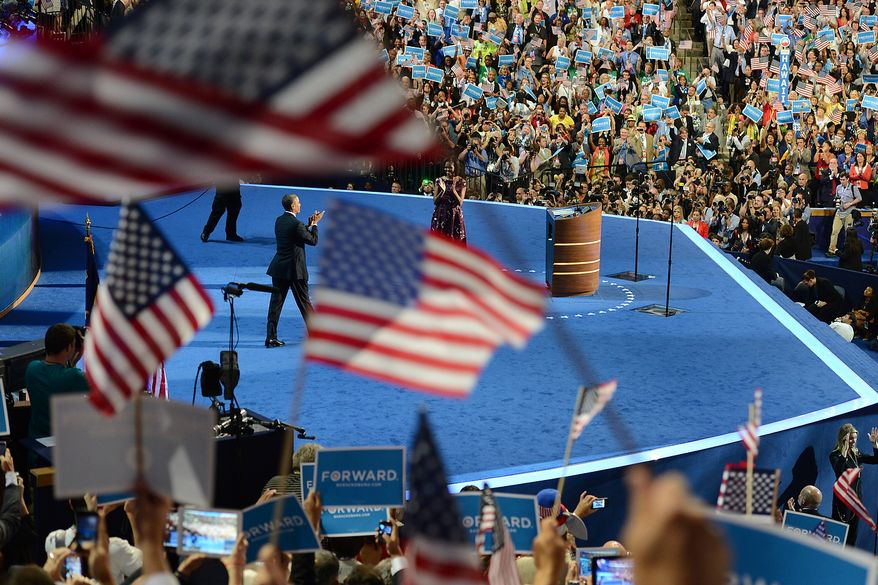 President Barack Obama accepts his party's nomination for a second term as President of the United States at the Democratic National Convention in the Time Warner Cable Arena in Charlotte, N.C., on Thursday, September 6, 2012. (Barbara Salisbury/ The Washington Times)