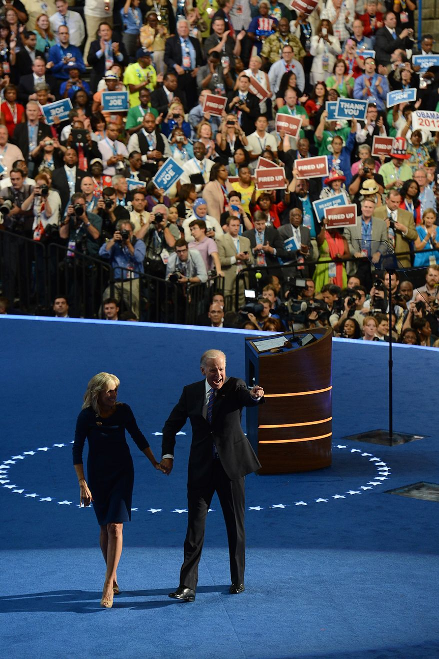Vice-President Joe Biden is joined by wife Dr. Jill Biden after accepting his VP nomination on the night that President Barack Obama accepts his party's nomination for a second term as President of the United States at the Democratic National Convention in the Time Warner Cable Arena in Charlotte, N.C., on Thursday, September 6, 2012. (Barbara Salisbury/ The Washington Times)