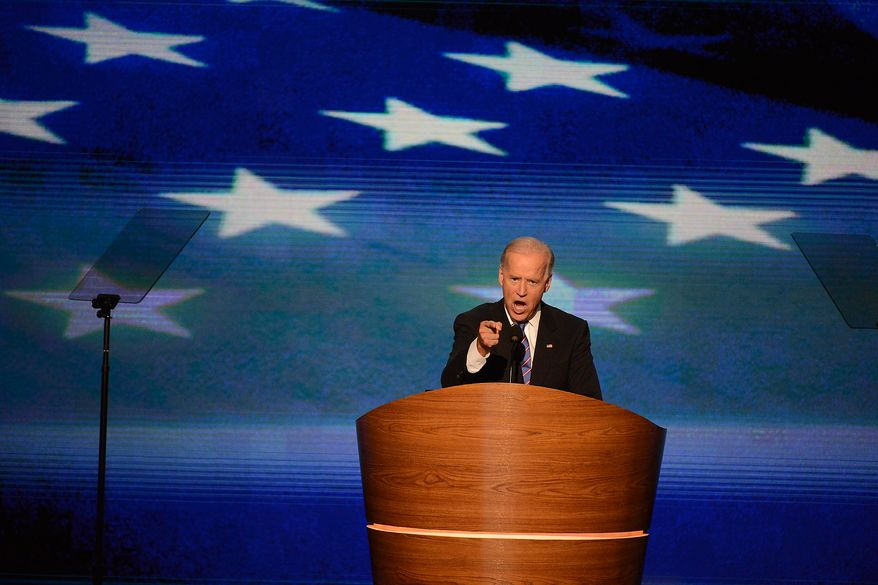 Vice-President Joe Biden takes the stage to accept his VP nomination on the night that President Barack Obama accepts his party's nomination for a second term as President of the United States at the Democratic National Convention in the Time Warner Cable Arena in Charlotte, N.C., on Thursday, September 6, 2012. (Andrew Geraci/ The Washington Times)