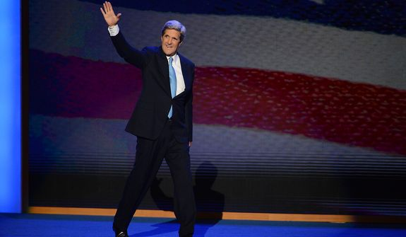Sen. John Kerry, D-Mass., voices his support for President Barack Obama at the Democratic National Convention in the Time Warner Cable Arena in Charlotte, N.C., on Thursday, September 6, 2012.  (Andrew Geraci/ The Washington Times)
