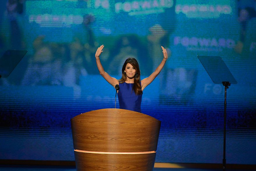 Actress Eva Longoria voices her support for President Obama at the Democratic National Convention at the Time Warner Cable Arena in Charlotte, N.C., on Thursday, Sept. 6, 2012.(Andrew Geraci/The Washington Times)