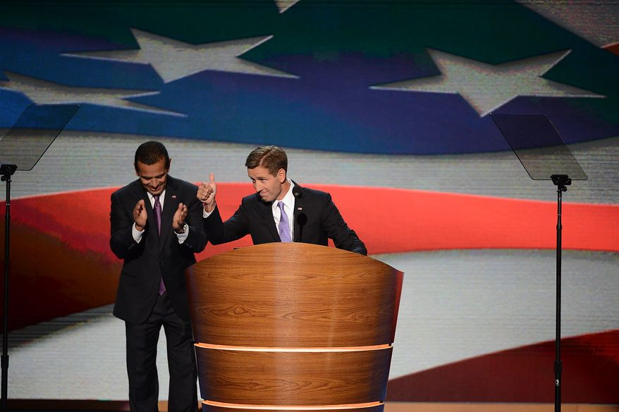 Antonio R. Villaraigosa, Chair of the 2012 Democratic National Convention Committee, introduces Beau Biden, Attorney General of Delaware and Son of Vice President Joe Biden, places his father's name in nomination for Vice President on the night that President Barack Obama accepts his party's nomination for a second term as President of the United States at the Democratic National Convention in the Time Warner Cable Arena in Charlotte, N.C., on Thursday, September 6, 2012. (Andrew Geraci/ The Washington Times)