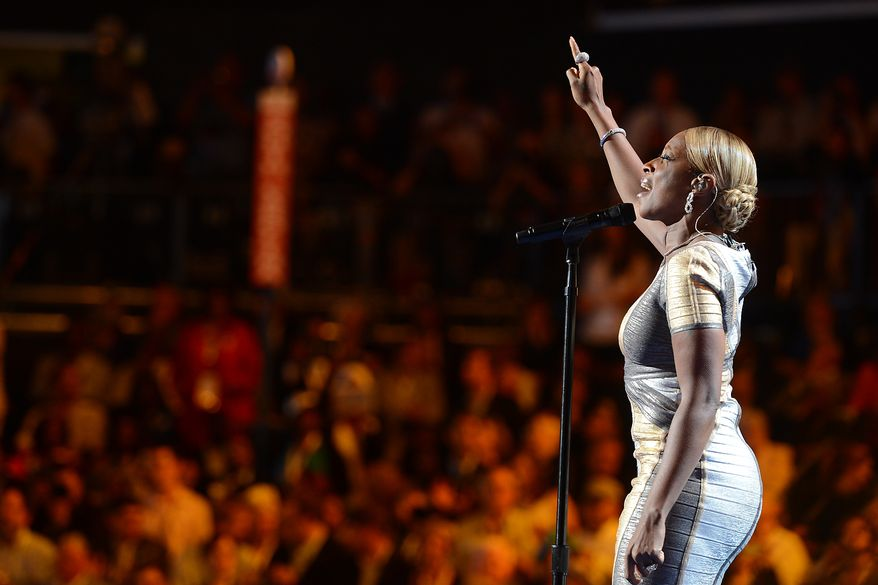 Mary J. Blige takes the stage to sing on the night that President Barack Obama accepts his party's nomination for a second term as President of the United States at the Democratic National Convention in the Time Warner Arena in Charlotte, N.C., on Thursday, September 6, 2012. (Barbara Salisbury/ The Washington Times)
