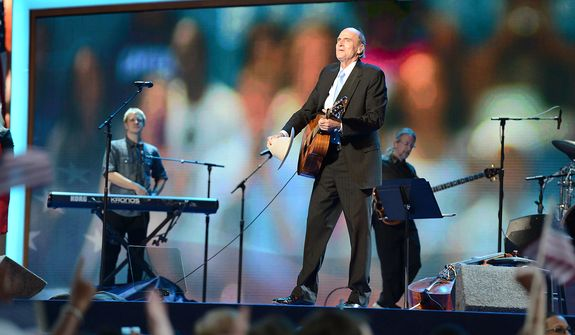 James Taylor performs before President Barack Obama accepts his party's nomination for a second term as President of the United States at the Democratic National Convention in the Time Warner Arena in Charlotte, N.C., on Thursday, September 6, 2012. (Barbara Salisbury/ The Washington Times)