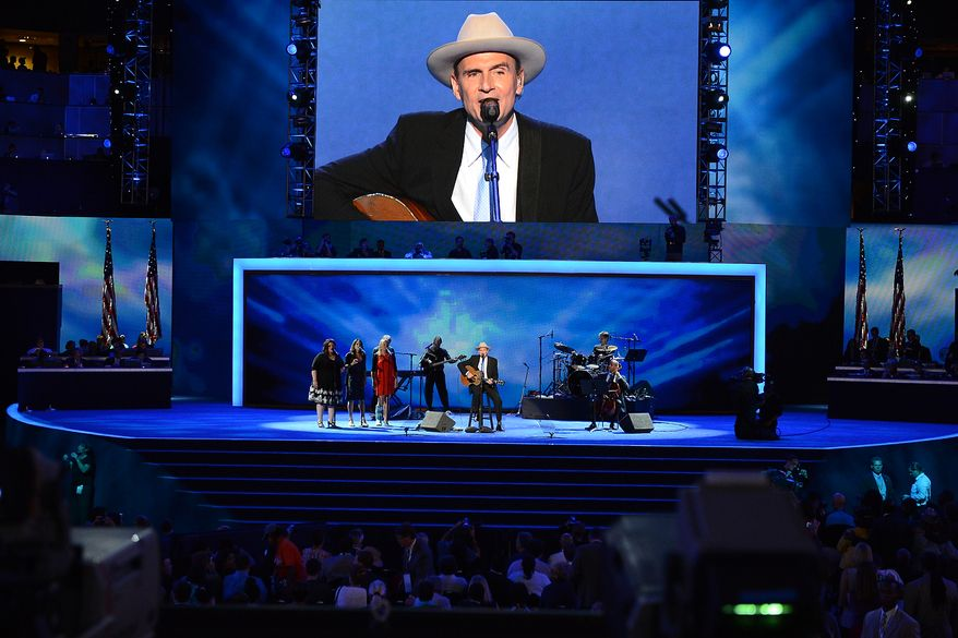 James Taylor performs before President Barack Obama accepts his party's nomination for a second term as President of the United States at the Democratic National Convention in the Time Warner Arena in Charlotte, N.C., on Thursday, September 6, 2012. (Andrew Geraci/ The Washington Times)