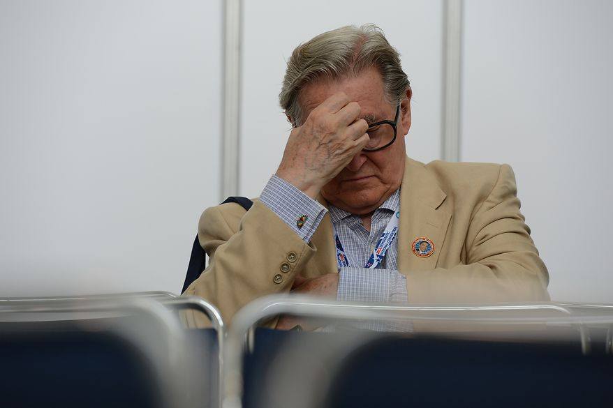 A man who refused to give his name to The Washington Times prays in a designated Prayer Room in the Charlotte Convention Center during the Democratic National Convention in Charlotte, N.C., on Thursday, September 6, 2012. (Barbara Salisbury/ The Washington Times)