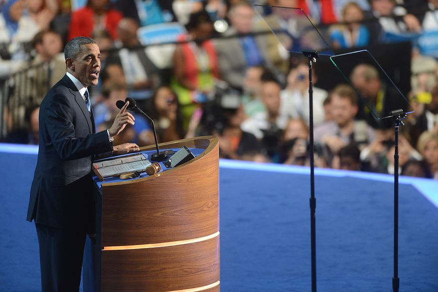 President Obama accepts his party's nomination for a second term as President of the United States at the Democratic National Convention in the Time Warner Cable Arena in Charlotte, N.C., on Thursday, Sept. 6, 2012. (Barbara Salisbury/The Washington Times)