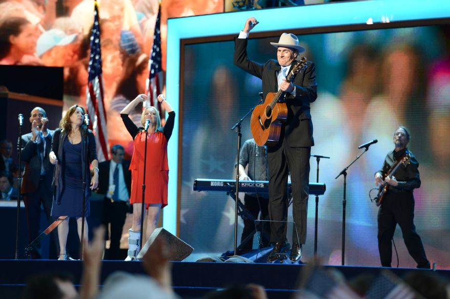 James Taylor performs before President Barack Obama accepts his party's nomination for a second term as President of the United States. (Barbara Salisbury/ The Washington Times)