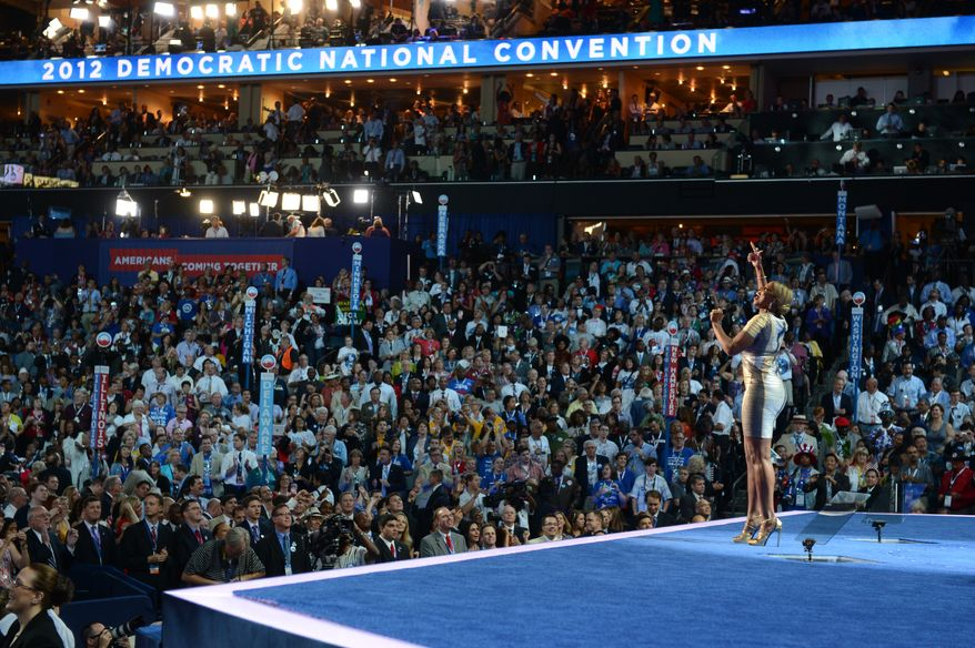 Mary J. Blige takes the stage to sing on the night that President Barack Obama accepts his party's nomination for a second term as President of the United States at the Democratic National Convention.(Barbara Salisbury/ The Washington Times)