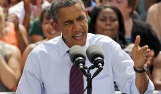President Obama speaks at a campaign event in Norfolk, Va., on Tuesday, Sept. 4, 2012. (AP Photo/Steve Helber)