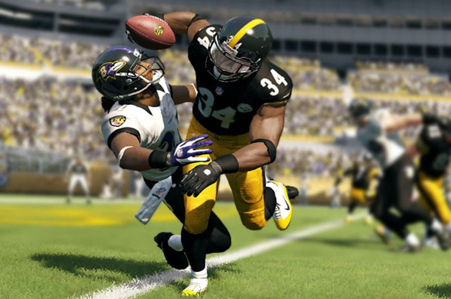 Ravens versus Steelers in the video game Madden NFL 13.