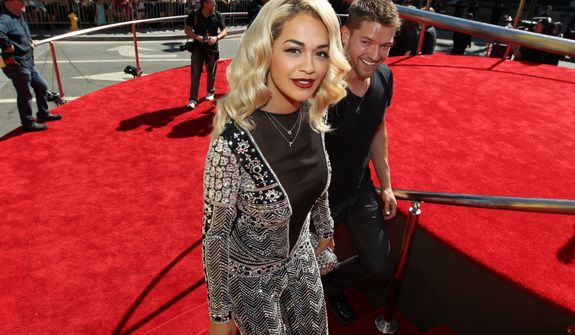 British singer-songwriter Rita Ora arrives at the MTV Video Music Awards on Thursday, Sept. 6, 2012, in Los Angeles. (Photo by Matt Sayles/Invision/AP)