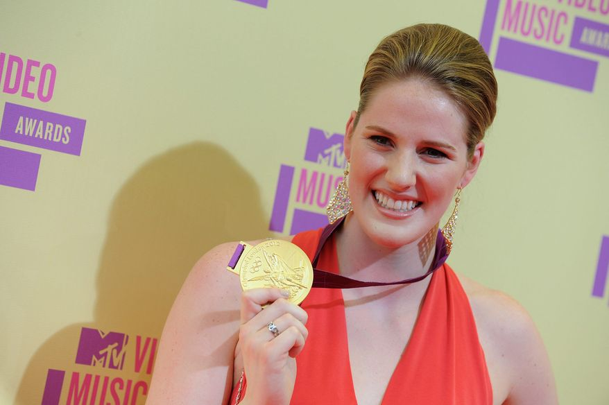 Olympic swimmer Missy Franklin arrives at the MTV Video Music Awards on Thursday, Sept. 6, 2012, in Los Angeles. (Photo by Jordan Strauss/Invision/AP)