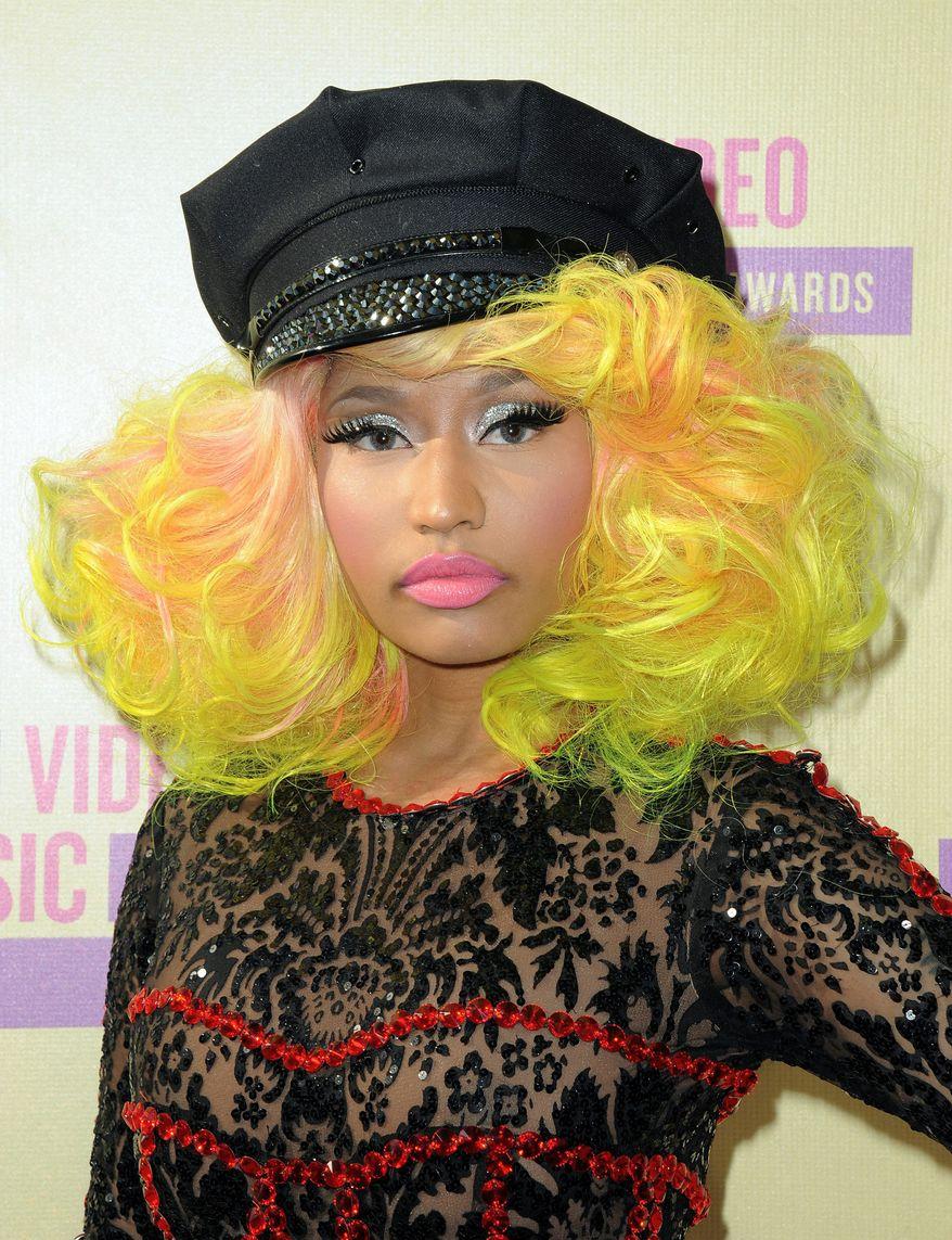 Nicki Minaj arrives Sept. 6, 2012, at the MTV Video Music Awards in Los Angeles. (Jordan Strauss/Invision/Associated Press)