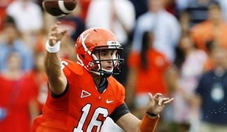 Virginia quarterback Michael Rocco throws against Richmond during the first quarter of an NCAA college football game, Saturday, Sept. 1, 2012, in Charlottesville, Va. Virginia won 43-19. (AP Photo/Richmond Times-Dispatch, Mark Gormus)