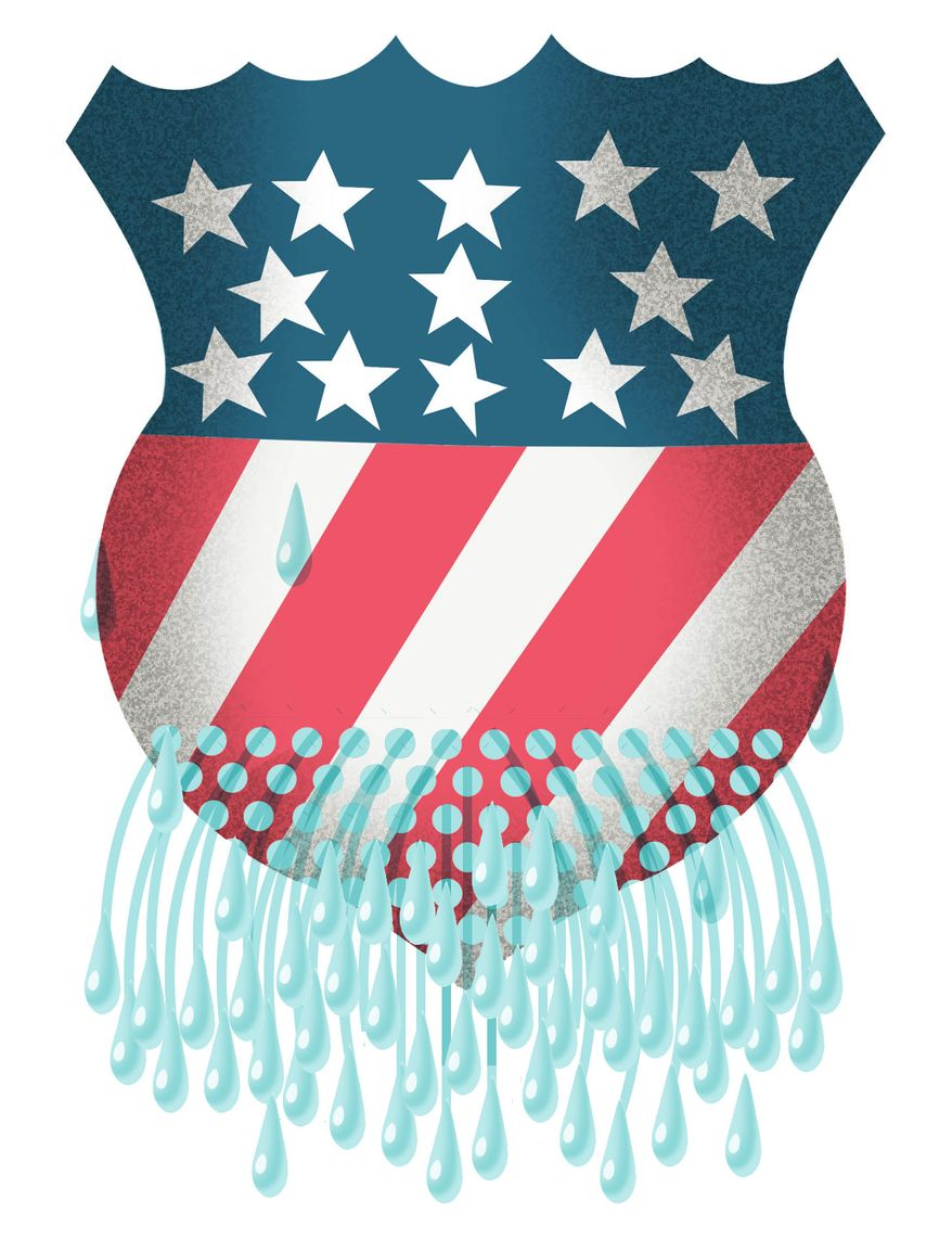 Illustration Leaky Seal by Alexander Hunter for The Washington Times