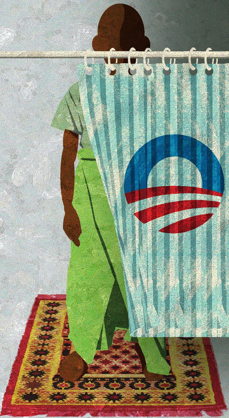Illustration Muslim Obama by Alexander Hunter for The Washington Times