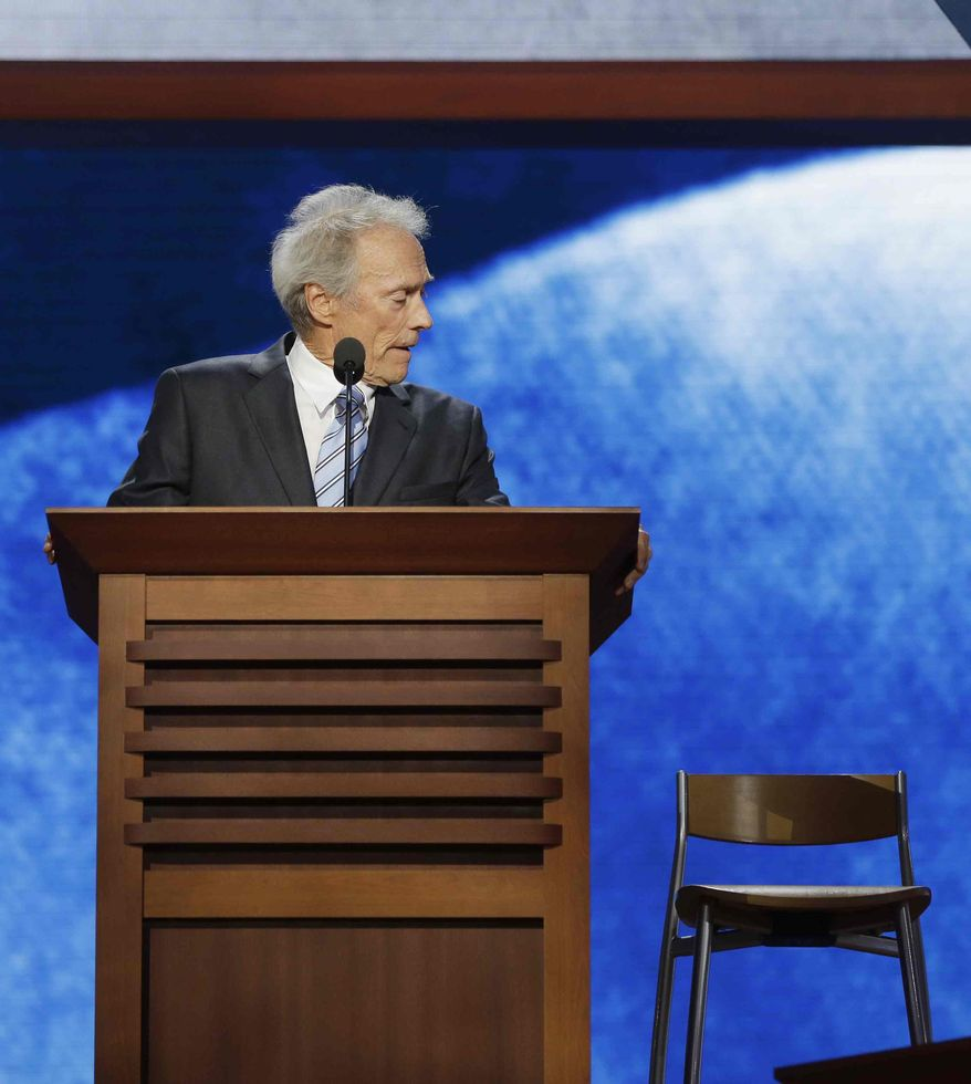 ** FILE ** Actor Clint Eastwood addresses an empty chair at the Republican National Convention in Tampa, Fla., on Thursday, Aug. 30, 2012. (AP Photo/Charles Dharapak)