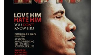 """This undated publicity photo released by Rocky Mountain Pictures shows a poster for the documentary film, """"2016: Obama's America."""" The conservative film exploring the roots of President Barack Obama's political views surprised the film industry when it took in $6.5 million to land at No. 7 at the weekend box office ahead of three new releases: the Joseph Gordon Levitt action flick """"Premium Rush,"""" the Kristen Bell comedy """"Hit and Run"""" and the Ashley Greene horror film """"The Apparition."""" (AP Photo/Rocky Mountain Pictures)"""