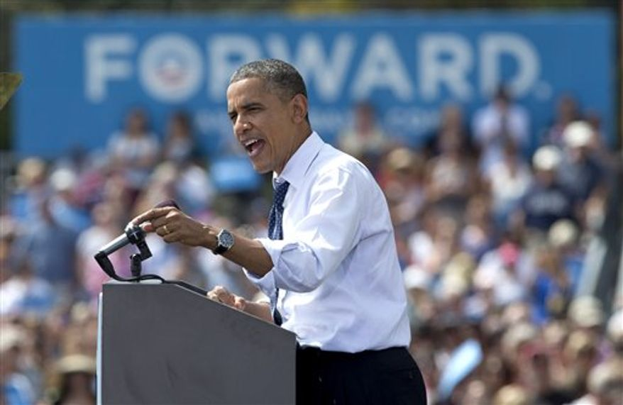 President Barack Obama speaks at a campaign event at Strawbery Banke Museum in Portsmouth, N.H., Friday, Sept. 7, 2012. (AP Photo/Carolyn Kaster)