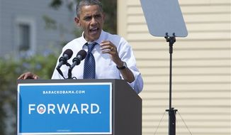 President Obama speaks at a campaign event at Strawbery Banke Field on Friday, Sept. 7, 2012, in Portsmouth, N.H. (AP Photo/Carolyn Kaster)