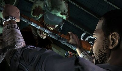 Lee Everett meets a hungry walker in the video game The Walking Dead: Episode 3 - Long Road Ahead.
