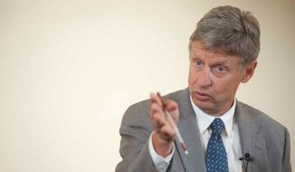 **FILE** Libertarian candidate Gary Johnson (Raymond Thompson/The Washington Times)