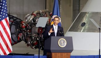"""President Obama, who visited the Kennedy Space Center in Cape Canaveral, Fla., in April 2010, subsequently said, """"By the mid-2030s, I believe, we can send humans to orbit Mars and return them safely to Earth. And a landing on Mars will follow. And I expect to be around to see it."""" (Associated Press)"""