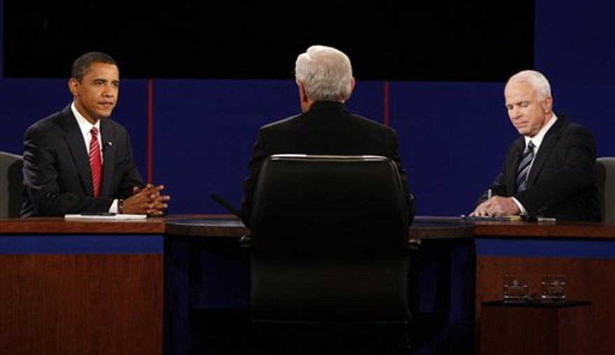 FILE - In this Oct. 15, 2008 photo, then-Democratic presidential candidate Sen. Barack Obama of Illinois, left, and Republican presidential candidate Sen. John McCain of Arizona, right, exchange responses as debate moderator Bob Schieffer listens during a presidential debate at Hofstra University in Hempstead, N.Y. Finally, the fall season delivers the matchup Americans have been waiting for, President Obama goes one-on-one with Republican Mitt Romney in three prime-time debates. (AP Photo/Ron Edmonds, File)