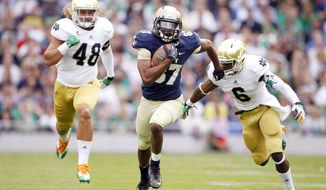 Junior Shawn Lynch has bounced between receiver and safety with the Midshipmen, but her appears to have settled in as a wideout. He caught four passes for 87 yards in the season opener against Notre Dame in Dublin, Ireland. (Associated Press)