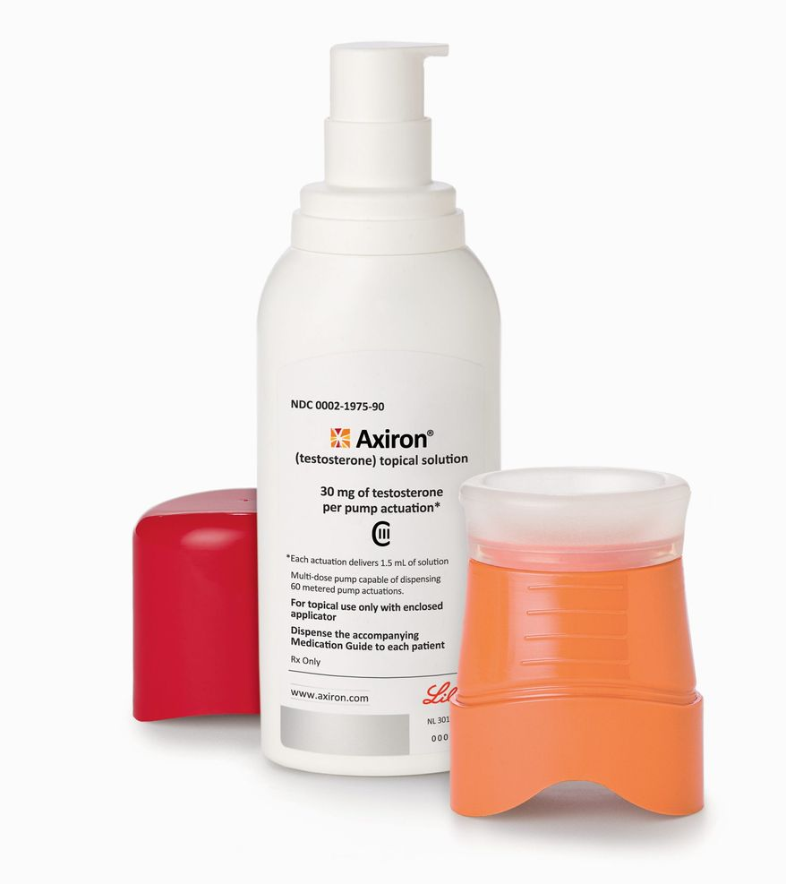 Axiron, a gel that rolls on like deodorant, is one drug used by men struggling with symptoms of aging. It is one of a growing number of prescription gels, patches and injections aimed at boosting levels of the male hormone that begins to decline after about age 40. (Associated Press)