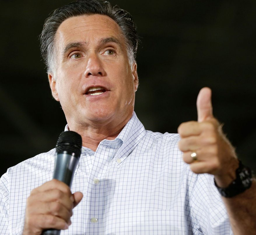 GOP presidential candidate Mitt Romney campaigns on Monday in Mansfield, Ohio. (Associated Press)
