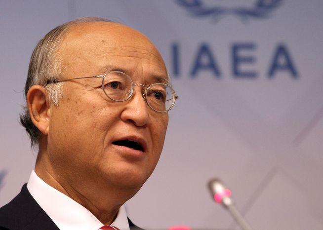 Yukiya Amano, head of the International Atomic Energy Agency (IAEA), addresses the media during a news conference after a meeting of the IAEA board of governors at the International Center in Vienna on Sept. 10, 2012. (Associated Press)