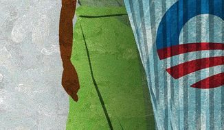 Illustration Muslim Obama 2 by Alexander Hunter for The Washington Times