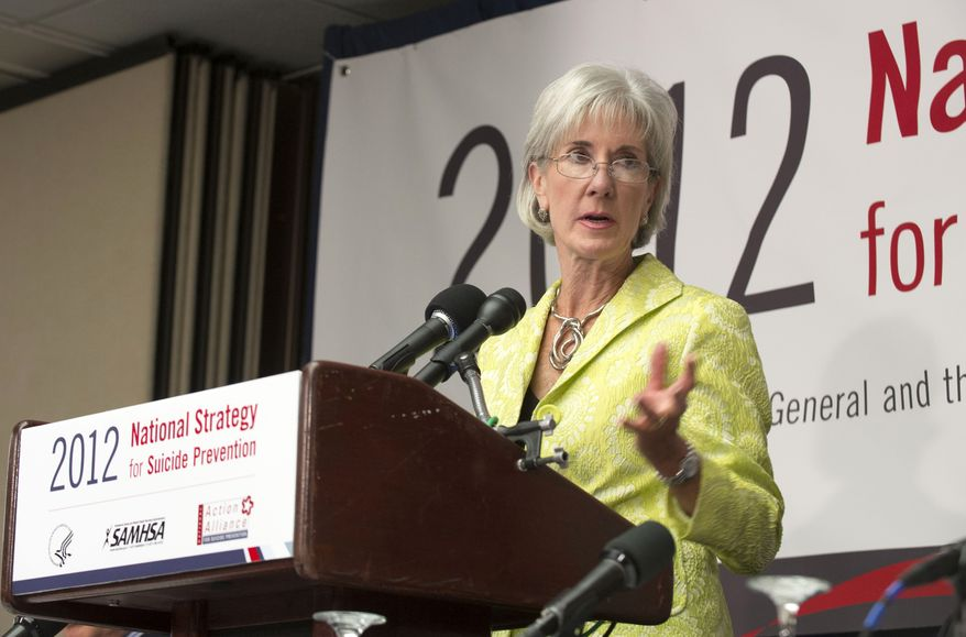Health and Human Services Secretary Kathleen Sebelius announces the 2012 National Strategy for Suicide Prevention on Monday, Sept. 10, 2012, at the National Press Club in Washington. (AP Photo/John Harrington, Substance Abuse and Mental Health Services Administration)