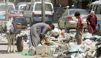 A second-hand dealer searches for valuables in loads of garbage on a Cairo street. A government revamping of trash collection flopped and metal trash bins proved to be easy prey for thieves. (Associated Press)