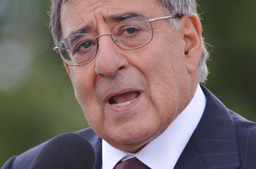 ** FILE ** Defense Secretary Leon Panetta speaks to reporters in Shanksville, Pa., on Sept. 10, 2012, after visiting the Flight 93 National Memorial ahead of the 11th anniversary of the 9/11 attacks. (Associated Press)